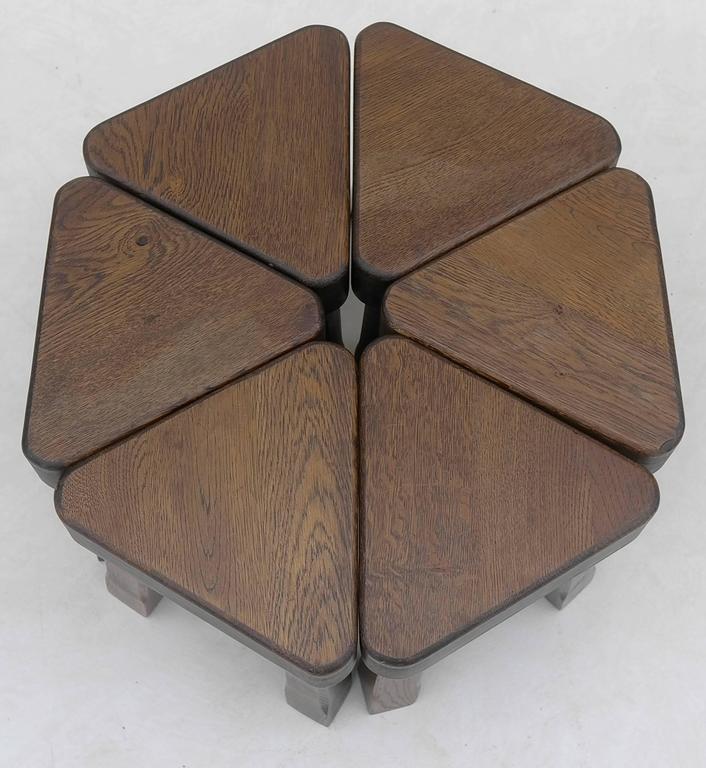 Mid-Century Modern Oak Sculptural Nesting Tables, 1960s For Sale
