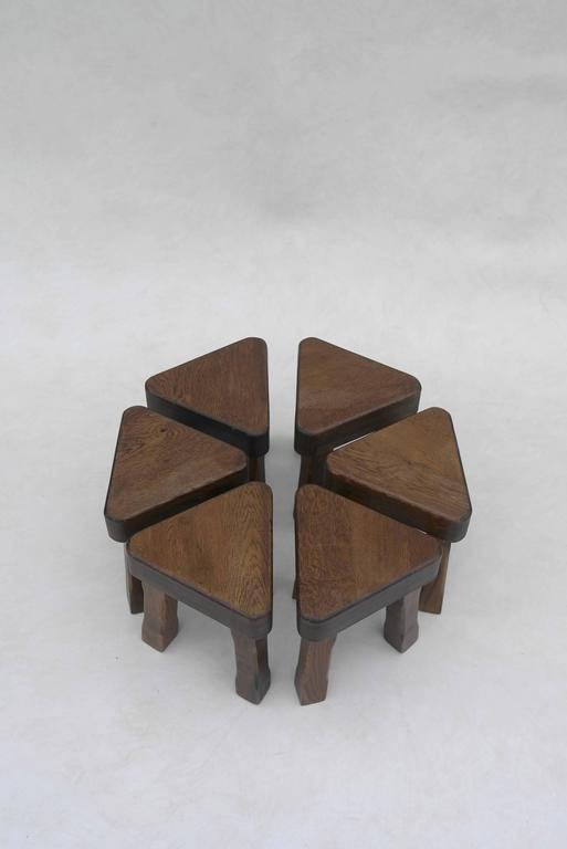 Danish Oak Sculptural Nesting Tables, 1960s For Sale