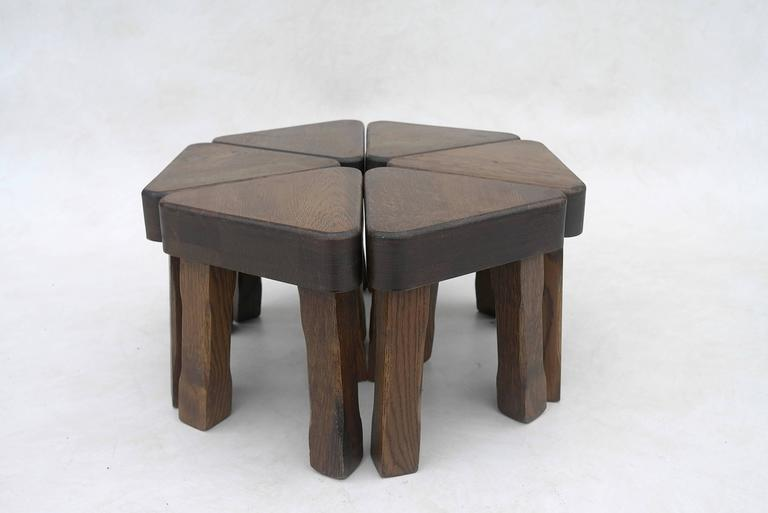 Oak Sculptural Nesting Tables, 1960s In Good Condition For Sale In Den Haag, NL