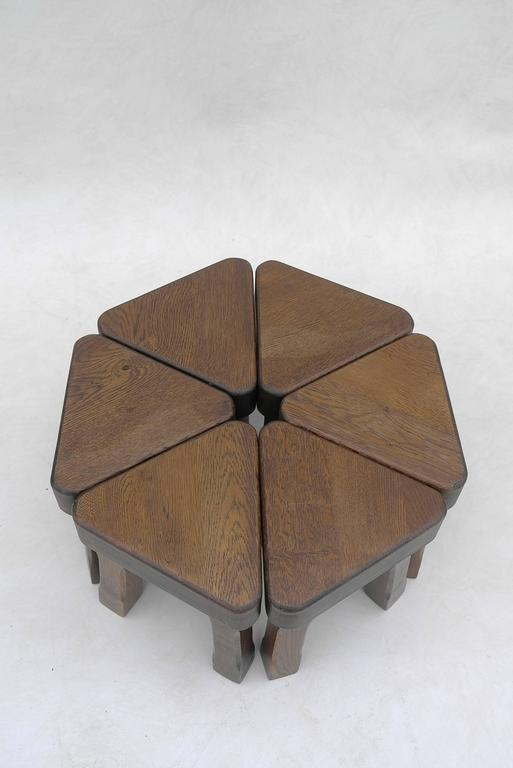 Mid-20th Century Oak Sculptural Nesting Tables, 1960s For Sale