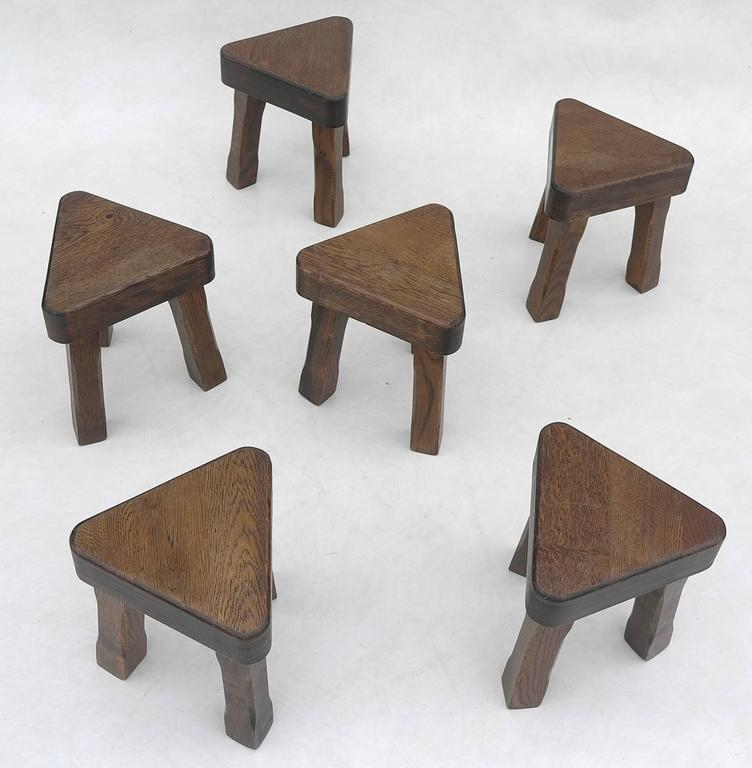 Oak Sculptural Nesting Tables, 1960s For Sale 1