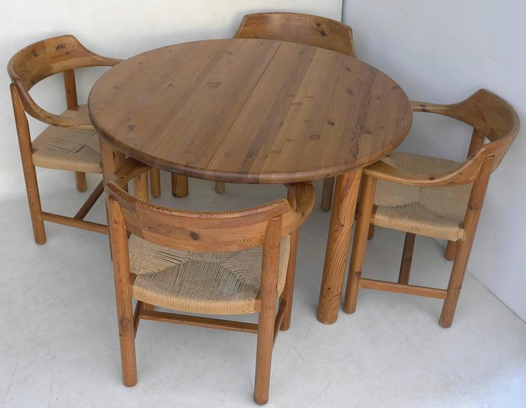 Rainer Daumiller Dining Set in Pinewood with Papercord Seats 4