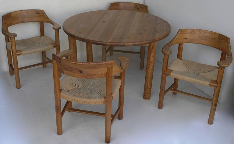 Rainer Daumiller Dining Set in Pinewood with Papercord Seats 5