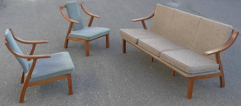 Mid-Century Modern Organic three-seat Sofa with Two Armchairs, Japan 1965 For Sale