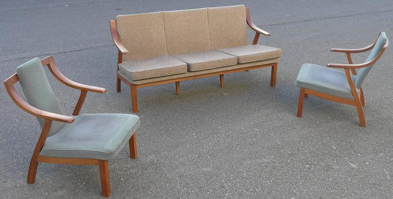 Mid-20th Century Organic three-seat Sofa with Two Armchairs, Japan 1965 For Sale
