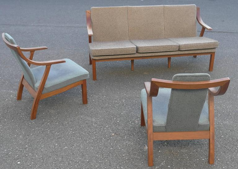 Upholstery Organic three-seat Sofa with Two Armchairs, Japan 1965 For Sale