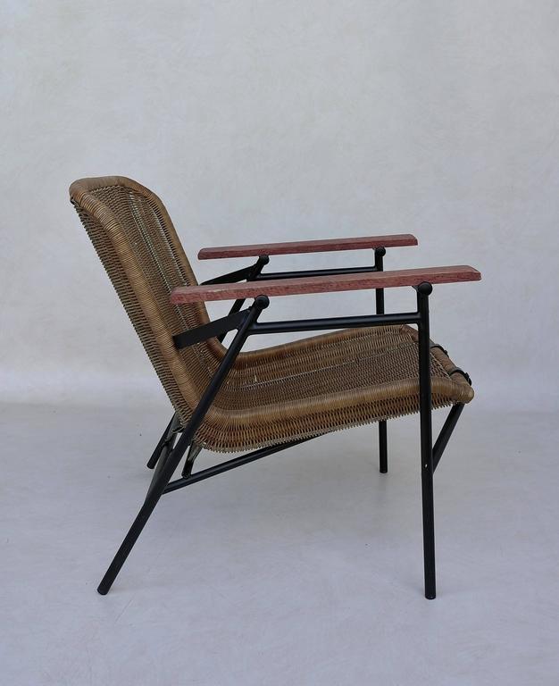 Mid-Century Modern Rare dirk van Sliedregt Armchair in Rattan and Steel For Sale