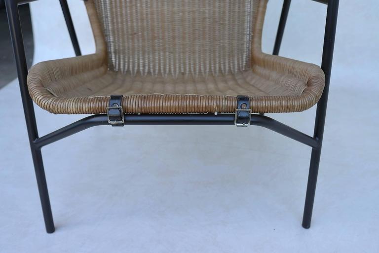 Dutch Rare dirk van Sliedregt Armchair in Rattan and Steel For Sale