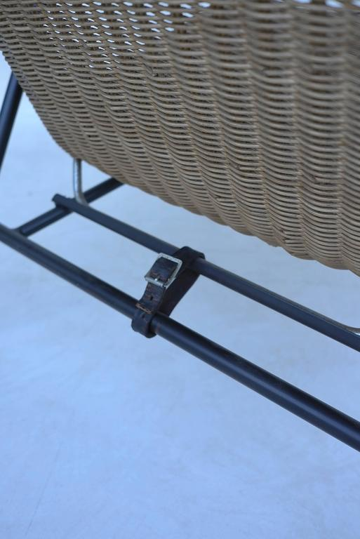 Rare dirk van Sliedregt Armchair in Rattan and Steel In Excellent Condition For Sale In The Hague, NL
