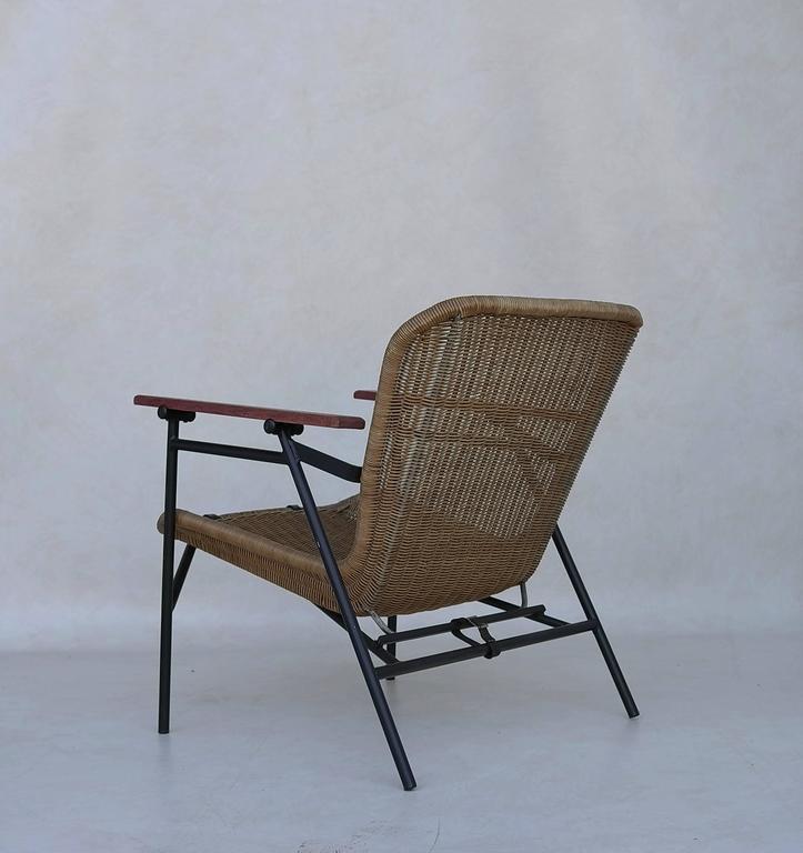 Mid-20th Century Rare dirk van Sliedregt Armchair in Rattan and Steel For Sale