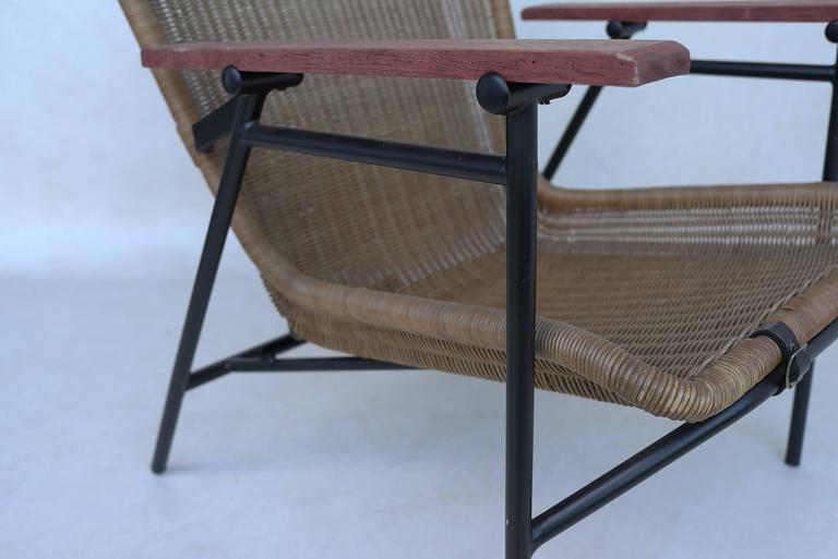 Rare dirk van Sliedregt Armchair in Rattan and Steel For Sale 1