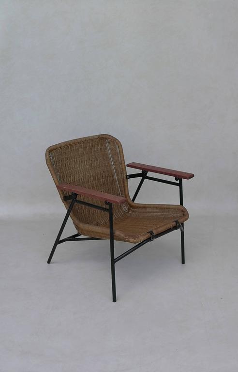 Rare dirk van Sliedregt Armchair in Rattan and Steel For Sale 2