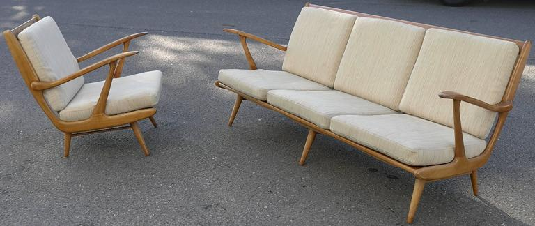 Organic Carlo Mollino Style Sofa with Armchair For Sale 2