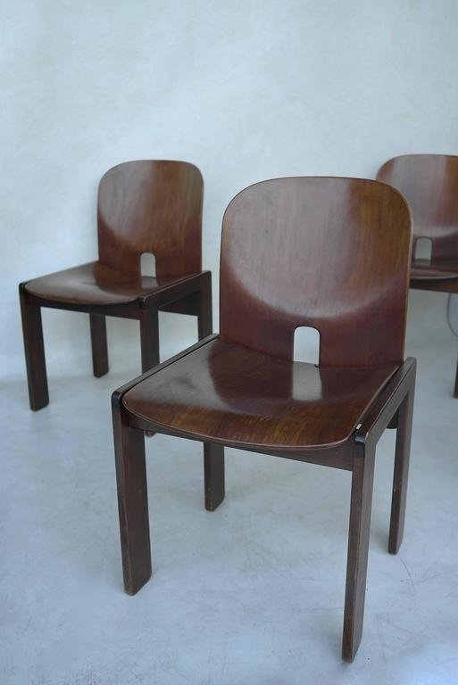 Set of Four 121 Walnut Dining Chairs by Afra & Tobia Scarpa for Cassina 2