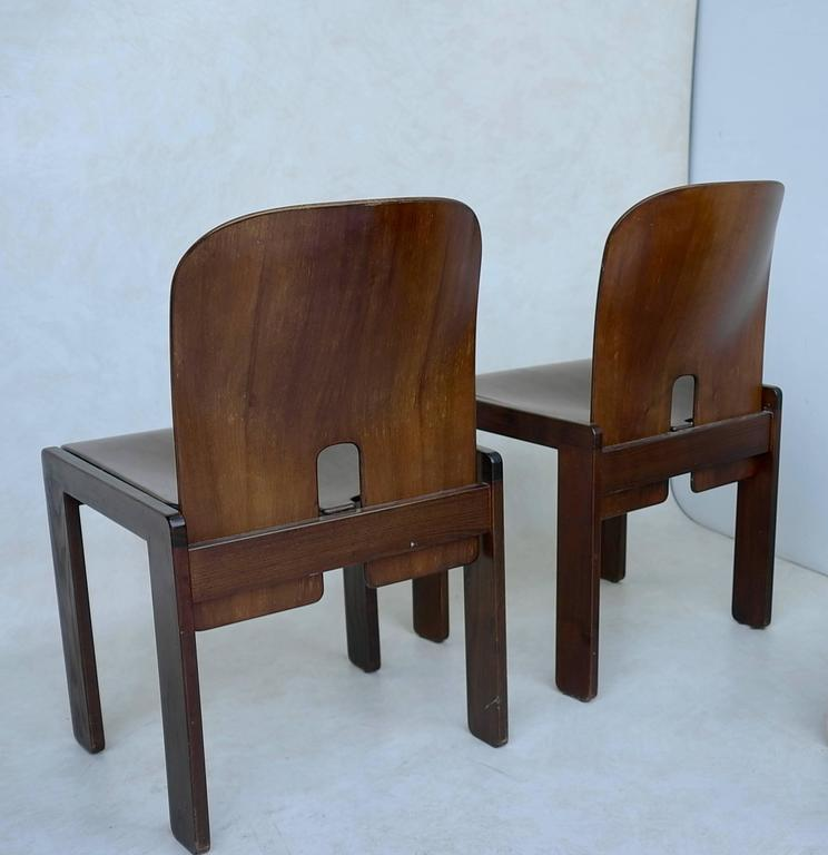 Set of Four 121 Walnut Dining Chairs by Afra & Tobia Scarpa for Cassina 3
