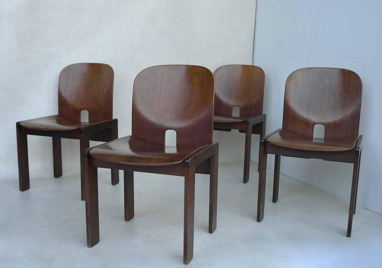 Set of Four 121 Walnut Dining Chairs by Afra & Tobia Scarpa for Cassina 4