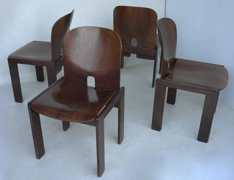 Set of Four 121 Walnut Dining Chairs by Afra & Tobia Scarpa for Cassina 5