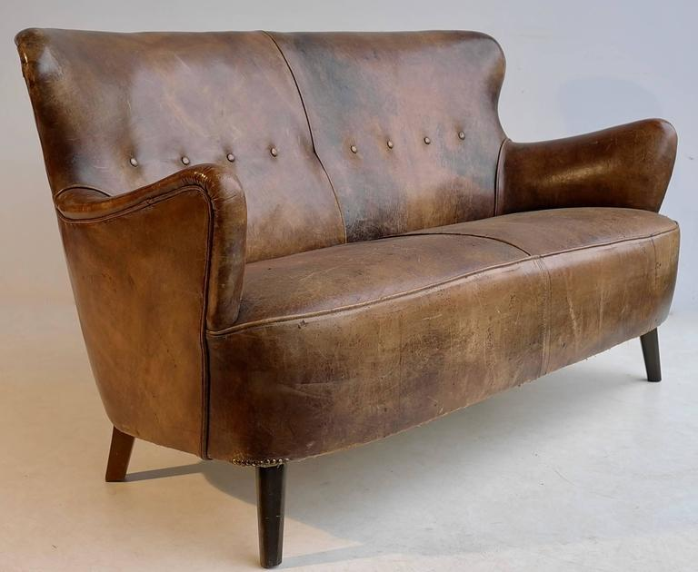 Cognac Leather Sofa With A Rich Patina By Theo Ruth For