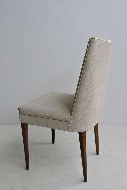 Elegant White Desk Chair With Wooden Legs, Italy, 1950s.