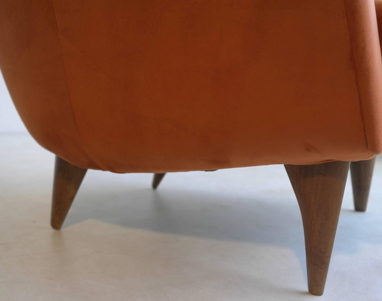 Fabric Pair of Armchairs in Red Terra Velvet, Italy, 1950s For Sale