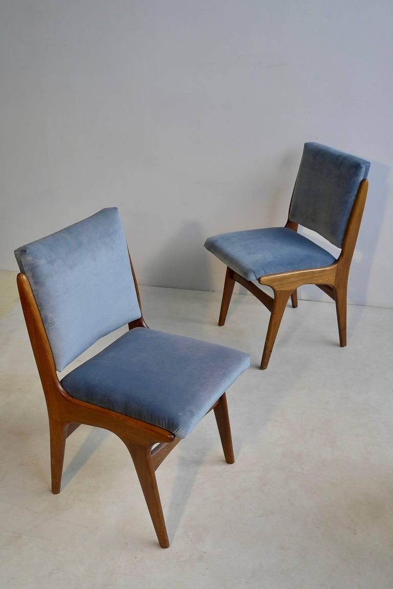 Italian Four Dining Chairs in Ice Blue Velvet, in Style of Carlo di Carli, Italy, 1950s For Sale