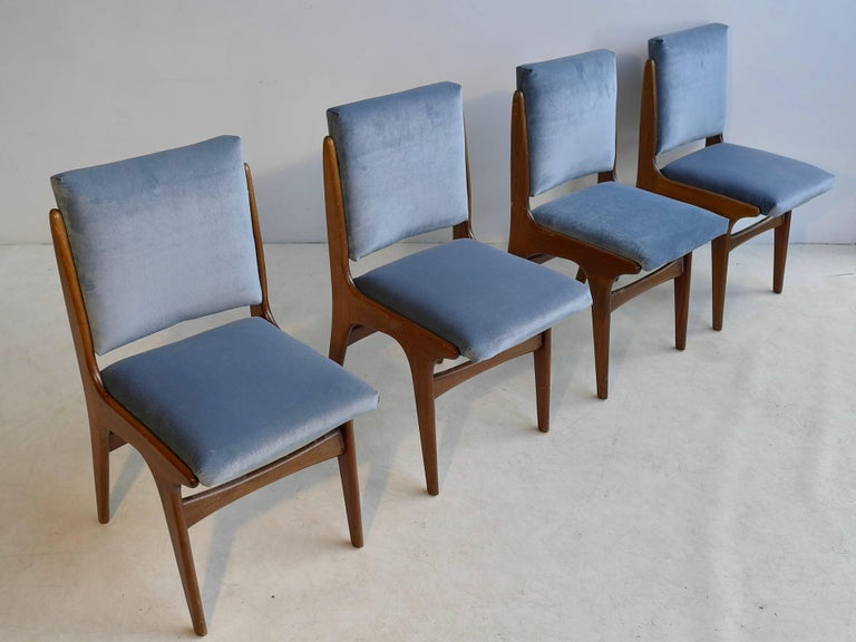 20th Century Four Dining Chairs in Ice Blue Velvet, in Style of Carlo di Carli, Italy, 1950s For Sale