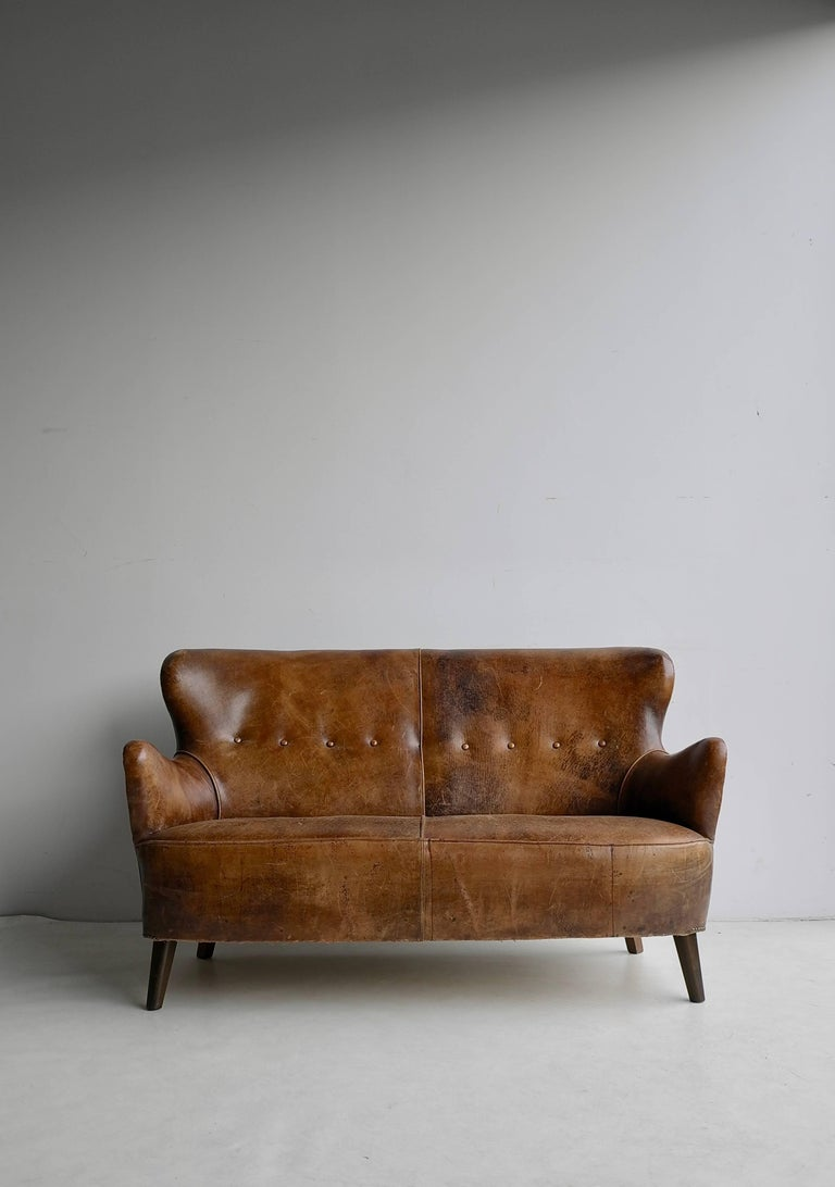 Surprising Cognac Leather Danish Sofa With A Rich Patina At 1Stdibs Gmtry Best Dining Table And Chair Ideas Images Gmtryco