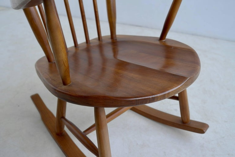 Wood Organic Rocking Chair in Style of George Nakashima For Sale