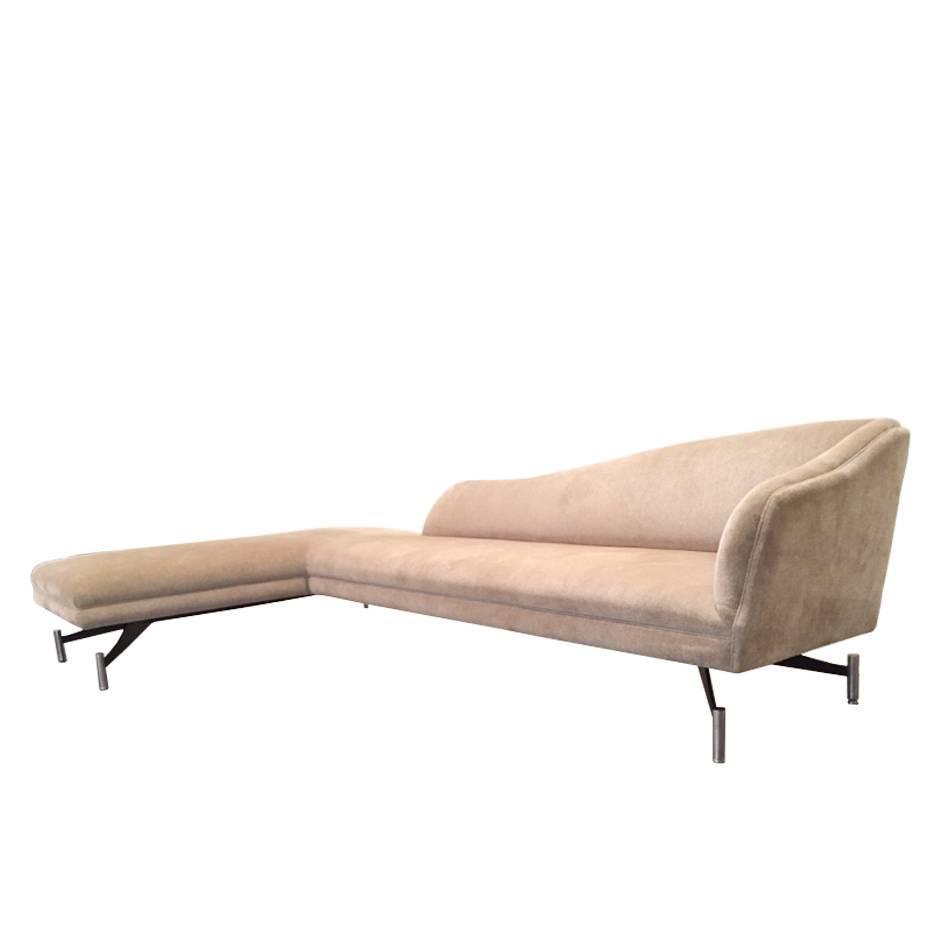 Vladimir Kagan Swan Sofa With Original Fabric With Steel