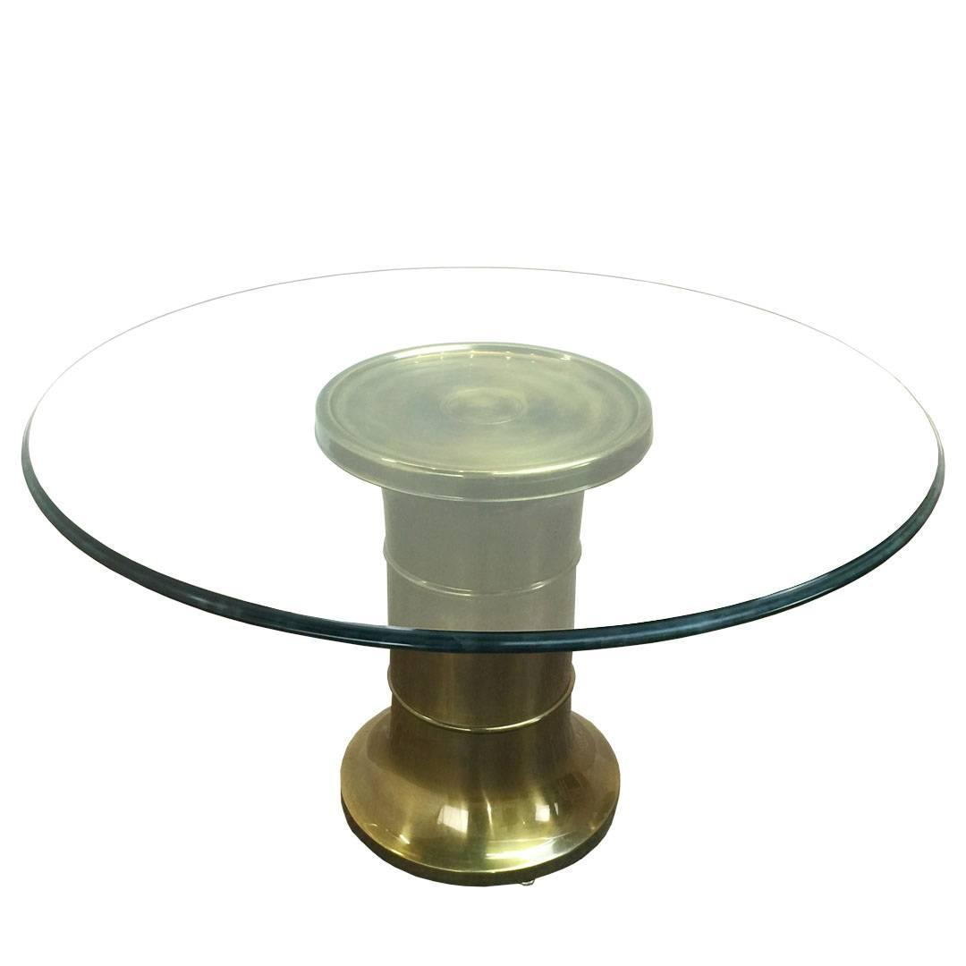 Brass Pedestal Game Table Cocktail Table By Mastercraft