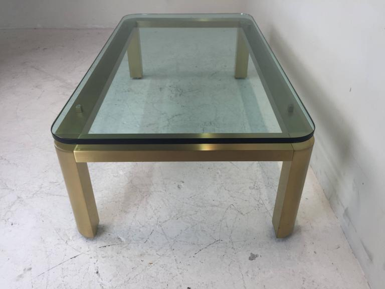 Stylish 1970s Brushed Brass Coffee Table with Round Corners In Excellent Condition For Sale In Dallas, TX