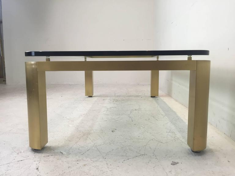 Stylish 1970s Brushed Brass Coffee Table with Round Corners For Sale 1