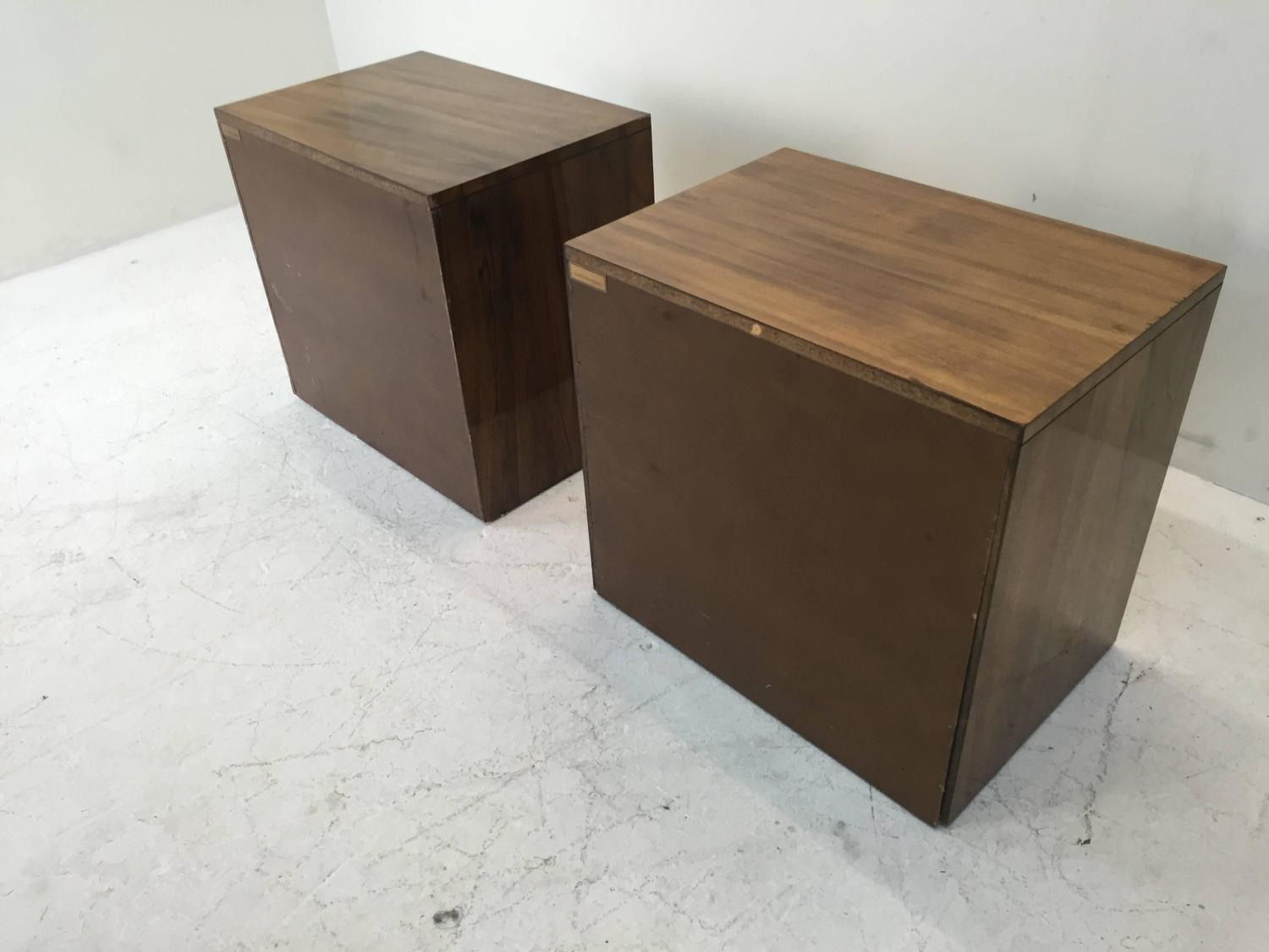 Mastercraft Zebrano Wood Nightstands with Brass Accents For Sale at ...