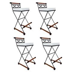 Set of Four Barstools in the Style of Cleo Baldon