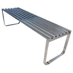 Chrome Slat Bench by Milo Baughman