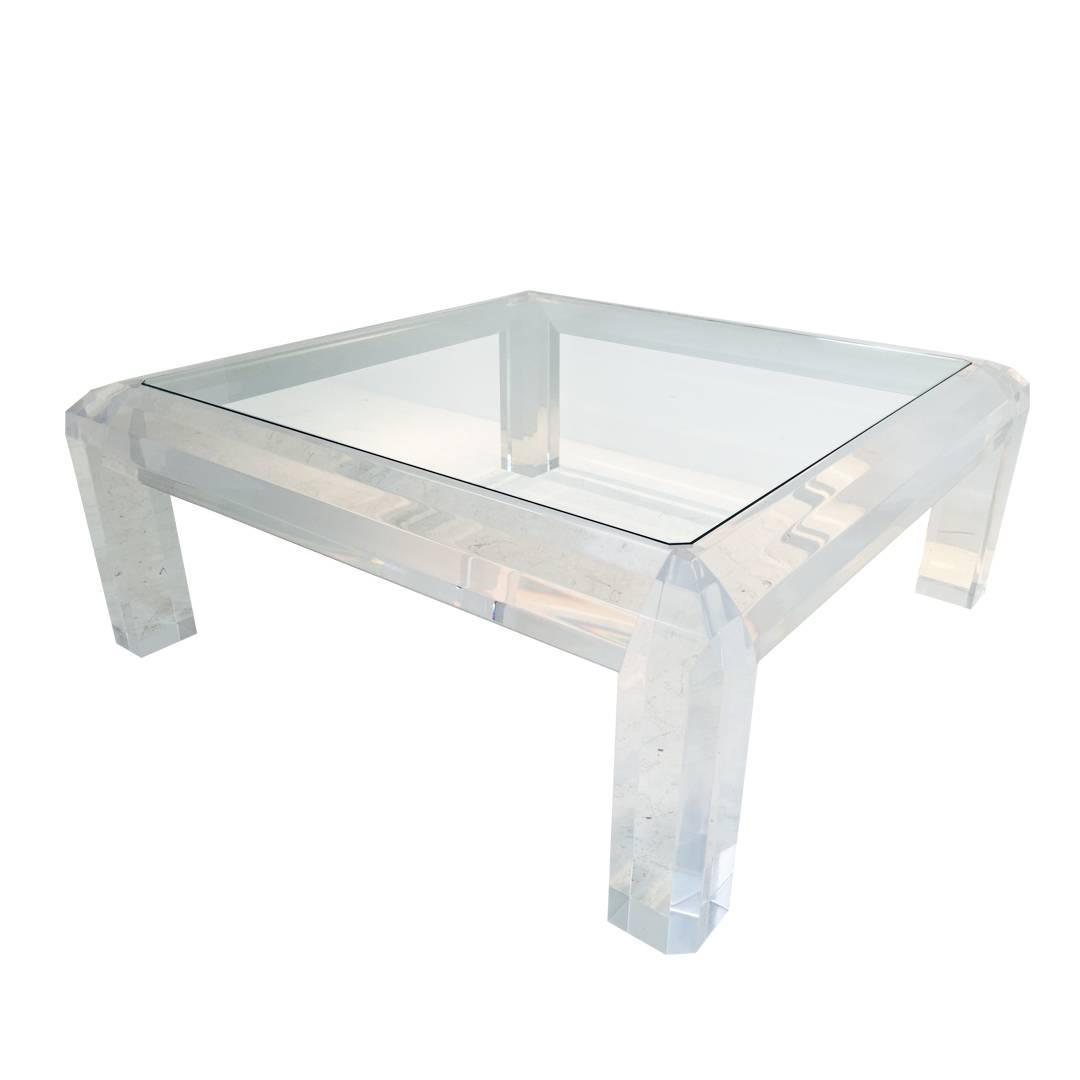 Gorgeous Lucite And Glass Coffee Table At 1stdibs