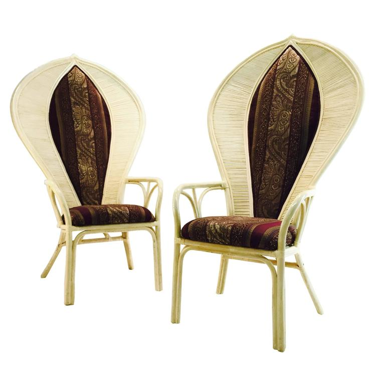 Pair of Cobra Back Rattan Chairs
