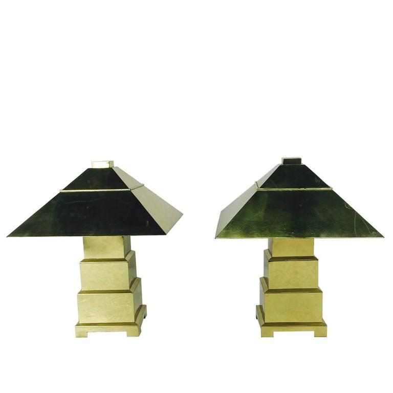 Pair of Stacked Brass Lamps with Domed Brass Shades