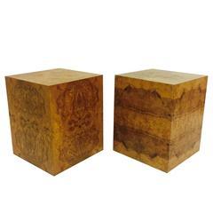 Pair of Burl Wood Cubes