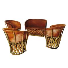 Vintage Mexican Equipale Settee and Chairs