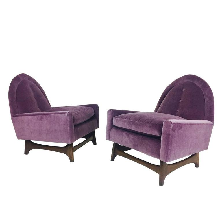 Pair of Purple Velvet Lounge Chairs in the Style of Adrian Pearsall