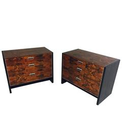 Pair of Rosewood Nightstands with Nickel Hardware by Glenn of California
