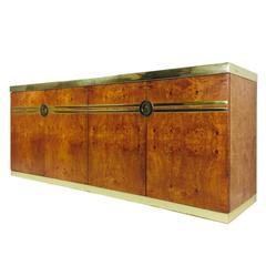 Burl and Brass Credenza by Pierre Cardin