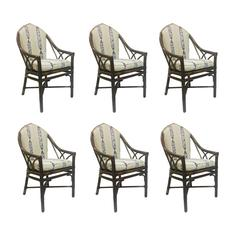 Set of Six Gothic Style Rattan Chairs by McGuire