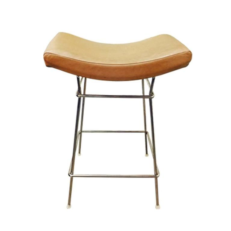 Set Of Five Chrome And Leather Bar Stools By Fernando