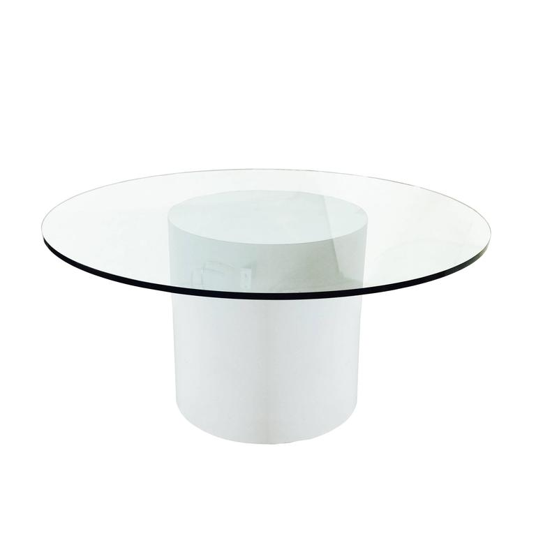 Modern white laminated dining table with round glass top for White round modern dining table