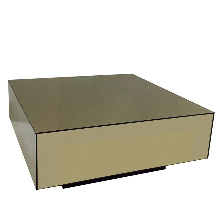 Bronze Mirrored Cube Coffee Table With Plinth Base For Sale