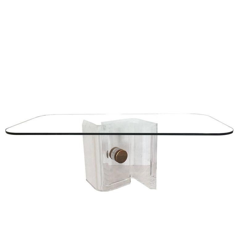 Lucite and Brass Dining Table Base with Glass Top