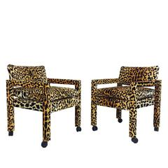 Pair of Milo Baughman Leopard Parsons Chairs on Casters