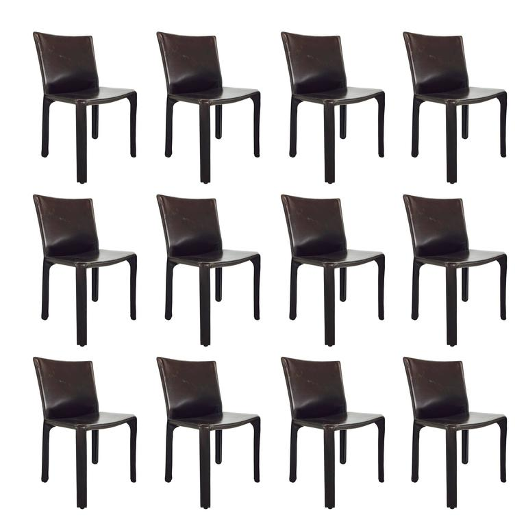 Espresso Brown Mario Bellini Cab Leather Dining Chairs (3 Available)